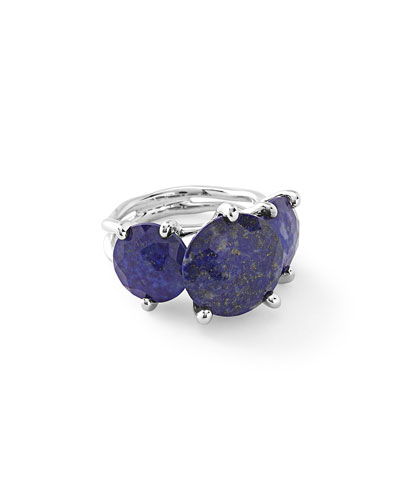 925 Rock Candy 3-Stone Ring in Lapis Doublet