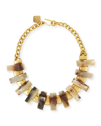 Jumbe Light Horn & Bronze Collar Necklace