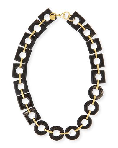 Mbele Dark Horn Geometric Link Necklace