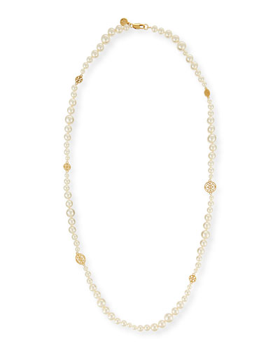 Evie Long Pearly Necklace, 38
