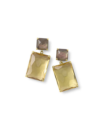 18k Rock Candy® Snowman Double-Drop Earrings in Citrine/Shell