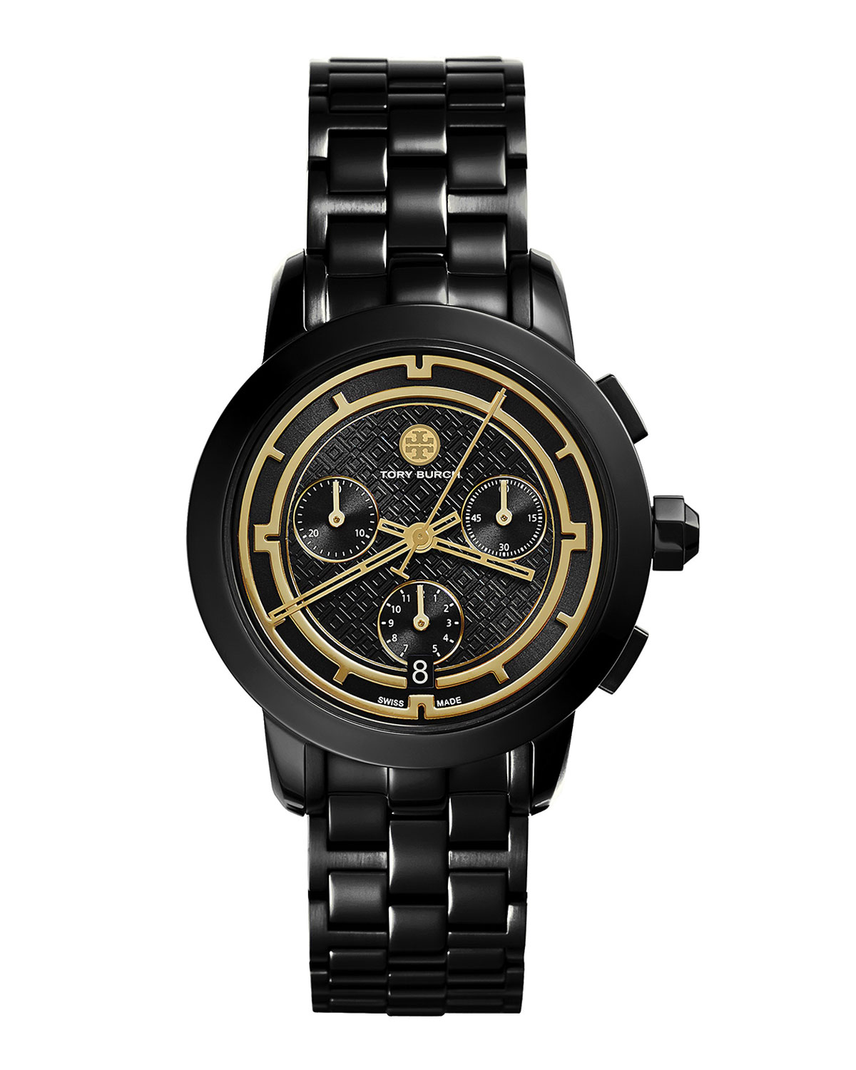Tory 37mm Black IP Chronograph Watch