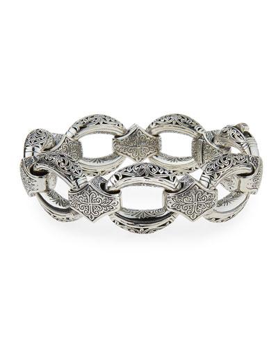 Konstantino Mens Sterling Silver & Turquoise Link Bracelet SQImkx