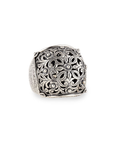 Sterling Silver Domed Scroll Ring