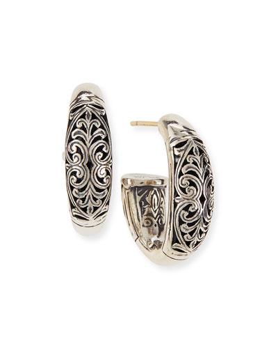Sterling Silver Etched Hoop Earrings