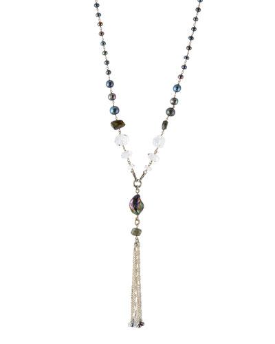 Crystal & Pearl Y Tassel Necklace