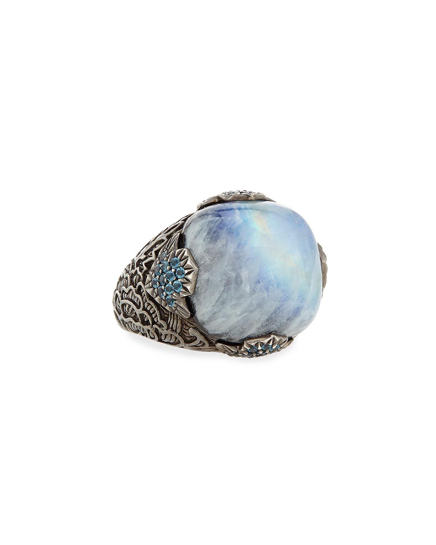 18mm Moonstone & Agate Ring