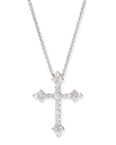 Large CZ Cross Pendant Necklace