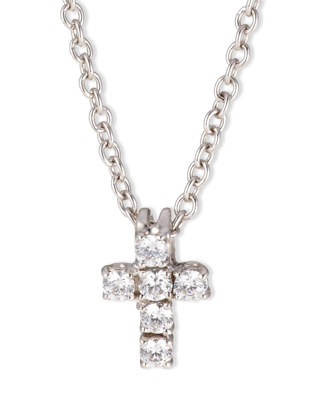 0.30 TCW Small CZ Cross Pendant Necklace