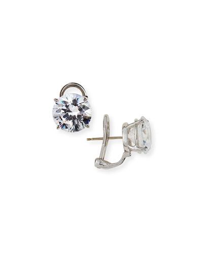 CZ Round Stud Earrings, 10.00 TCW