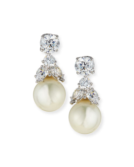 Fantasia by DeSerio 2.50 TCW CZ Stud & Simulated Pearl Dangle Earrings