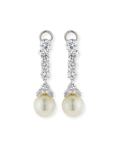 Fantasia 10mm Simulated Pearl & Cubic Zirconia Drop Earrings X4S7EaDG