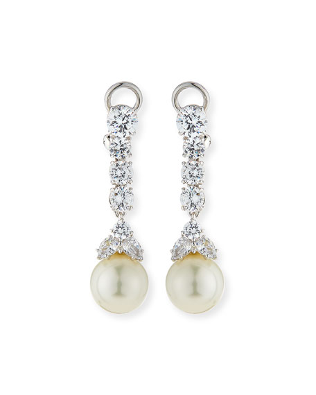Fantasia by DeSerio CZ & Simulated Pearl Long Drop Earrings