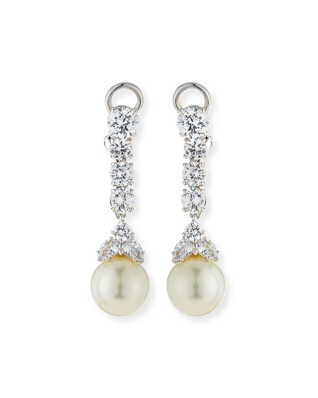 6 TCW CZ & Simulated Pearl Long Drop Earrings