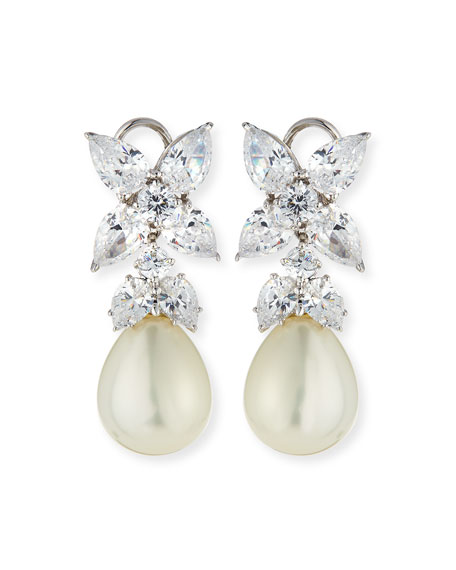 Fantasia by DeSerio 10.0 TCW Flower Top CZ & Simulated Pearl Drop Earrings