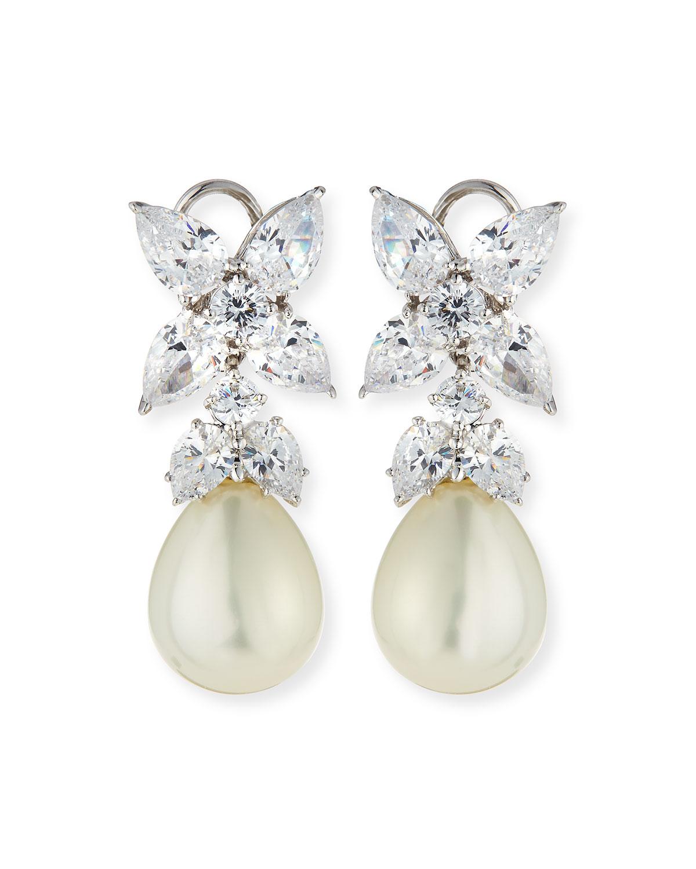 10.0 TCW Flower Top CZ & Simulated Pearl Drop Earrings