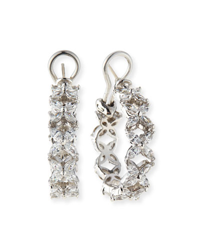 CZ Flower Shaped Hoop Earrings