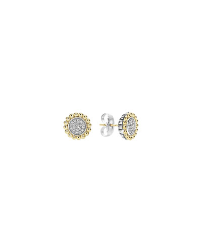Pavé Diamond Caviar Button Earrings