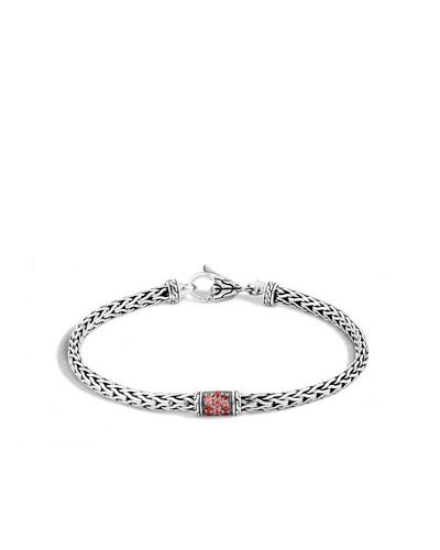 40th Anniversary Classic Chain Lava Slim Bracelet w/ Red Sapphires