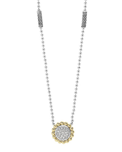 12mm Pavé Diamond & Caviar Pendant Necklace