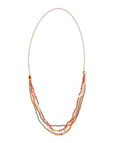 Multi-Strand Beaded Necklace, Orange