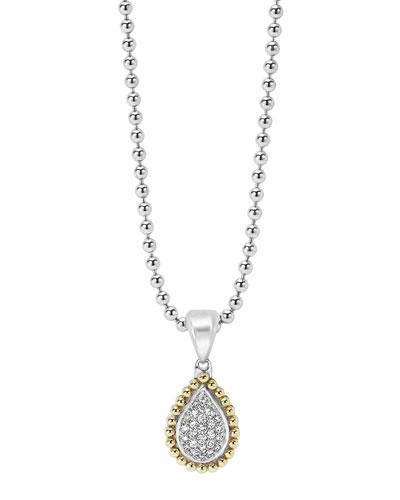 18K Gold Caviar & Pavé Diamond Teardrop Necklace