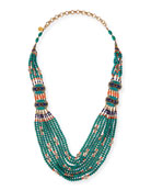 Turquoise & Coral Long Beaded Necklace, 38""