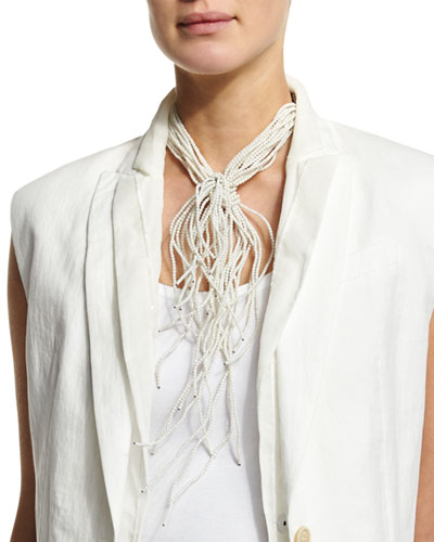 Riverstone Choker Tie Necklace, White