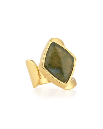 Luxe Moss Agate Rhombus Ring