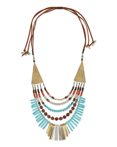 Multilayer Turquoise Magnesite & Leather Necklace