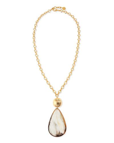 Teardrop Horn Pendant Necklace, 34