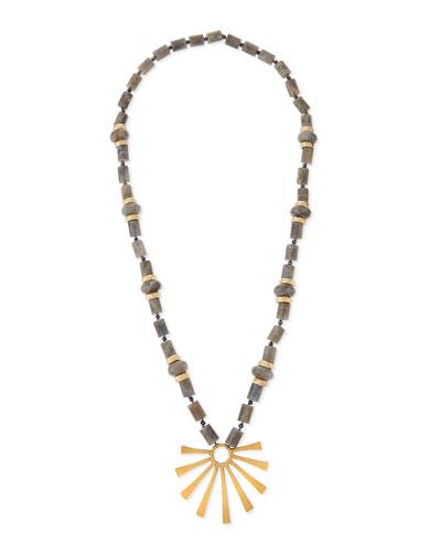 Long Labradorite Sun-Ray Pendant Necklace