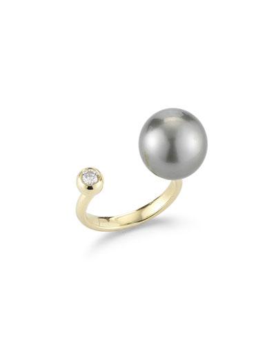 Open Pearl & Diamond Ring