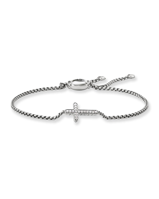 Petite Pave Diamond Cross Bracelet