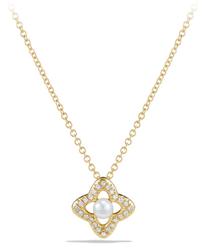 5mm Venetian Quatrefoil Pearl & Diamond Necklace