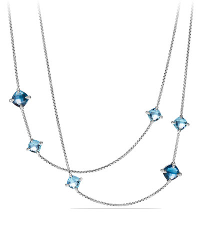 Long Châtelaine Hampton Blue Topaz Station Necklace, 36