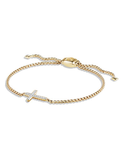18K Gold Petite Sideways Diamond Cross Bracelet