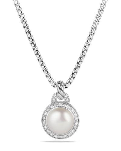 Petite Cerise Pearl Pendant Necklace w/Pave Diamonds