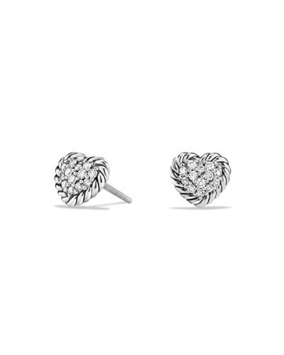 8mm Valentine Hearts Diamond Chatelaine Earrings
