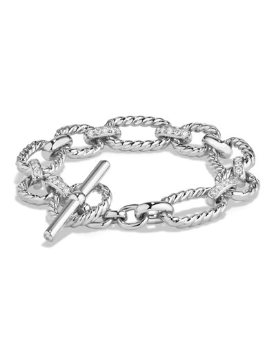 12.5mm Cushion Link Chain Bracelet with Diamonds