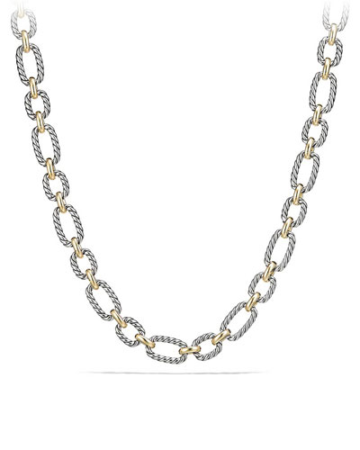 12.5mm Cushion Link Chain Necklace with Blue Sapphires