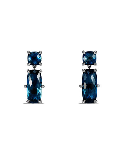 Châtelaine Faceted Hampton Blue Topaz Drop Earrings with Diamonds