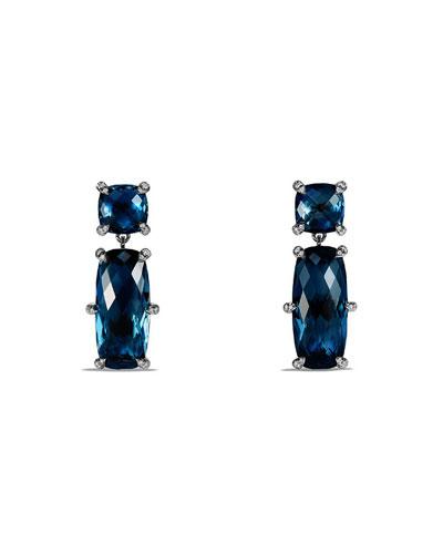 Châtelaine Faceted Hampton Blue Topaz Drop Earrings with Diamonds