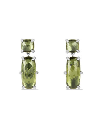 Châtelaine Faceted Green Orchid Drop Earrings with Diamonds