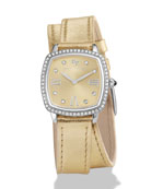 27mm Albion Diamond Leather Strap Watch, Golden