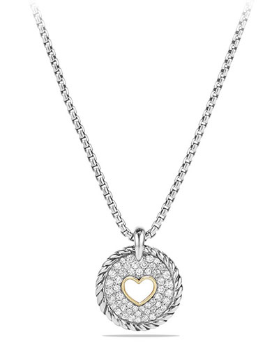 Petite Pavé Diamond Heart Pendant Necklace