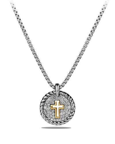 Petite Cable Pavé Diamond Cross Pendant Necklace