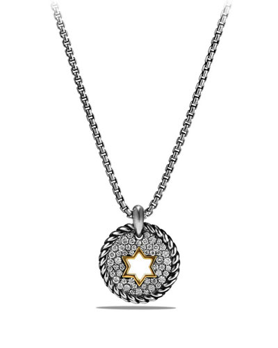 Petite Cable Pavé Diamond Star of David Pendant Necklace