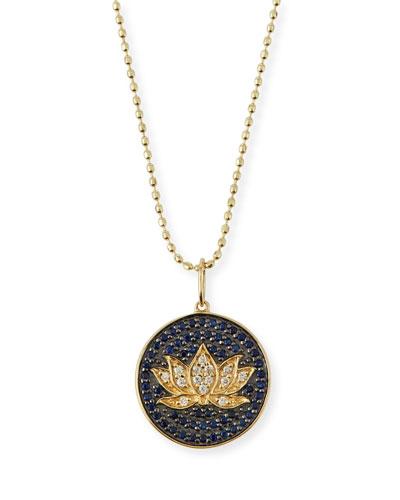 Medium Pavé Blue Sapphire & Diamond Lotus Necklace