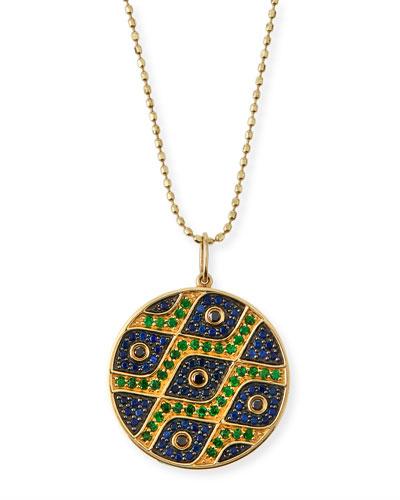 Multi-Eye Black Diamond & Sapphire Medallion Necklace
